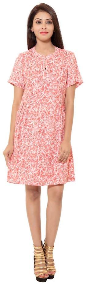GOODWILL Women's Casual Wear Half Sleeve Printed Pink Rayon Dress