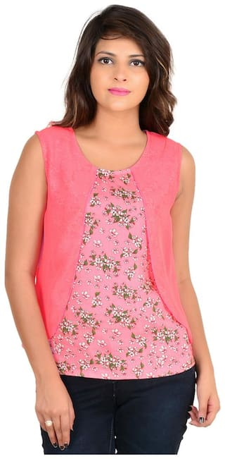 Goodwill Women's Casual Floral Print Sleeveless Pink Rayon Top