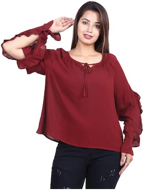Goodwill Women Solid Fusion top - Maroon