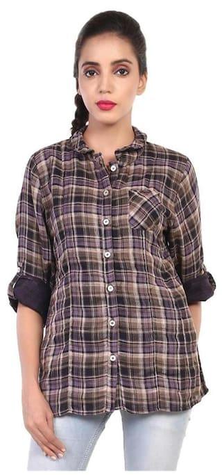 GOODWILL Women's Checkered Casual Multicolor Cotton Shirt