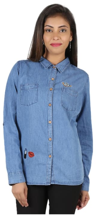 GOODWILL Women's Casual Wear Full Sleeve Blue Denim Shirt
