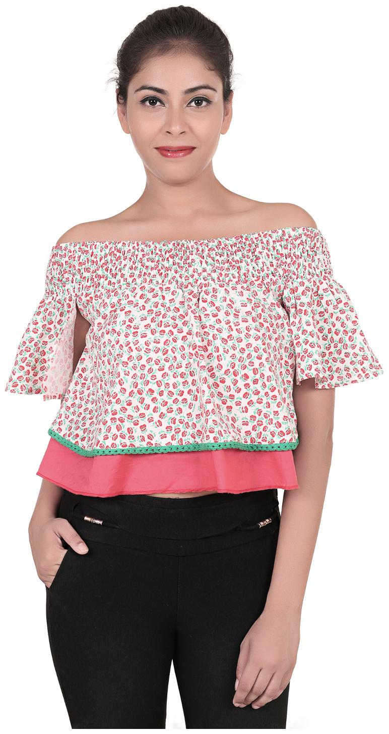 GOODWILL Women's Casual Floral Print Multicolor Pink Top