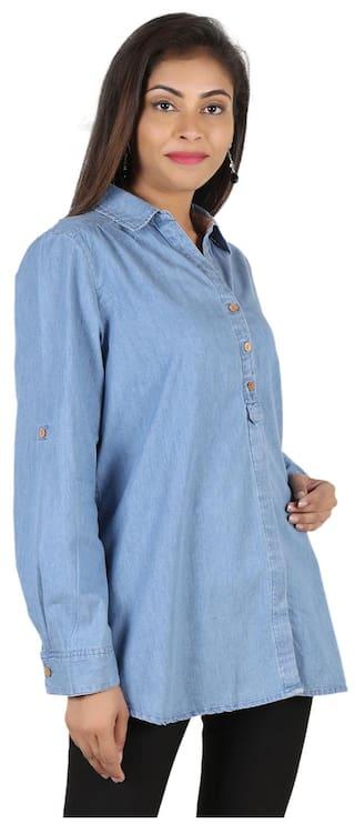 Shirt Sleeve Blue GOODWILL Wear Full Casual Women's Denim fwHzT