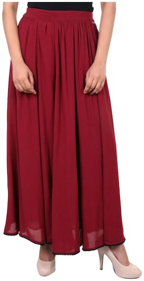 GOODWILL Women's Casual Solid Maroon Skirt