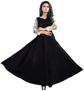 Gopal Fashion Black Satin Printed Gown