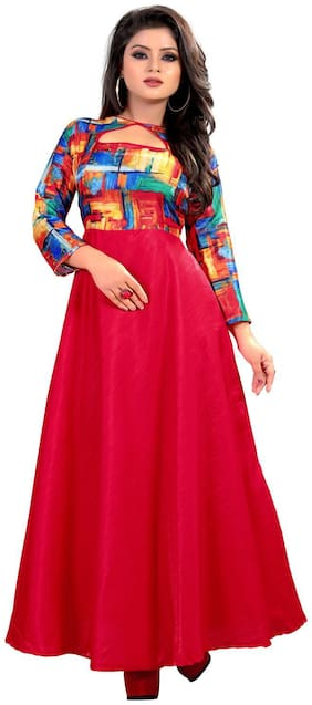 Gopal Fashion Red Satin Printed Gown
