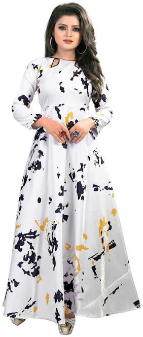 Gopal Fashion White Satin Printed Gown