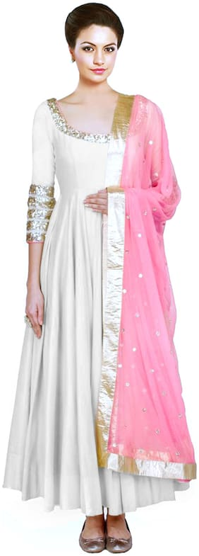 gopal fashion White Silk Anarkali Semi-Stitched Suit