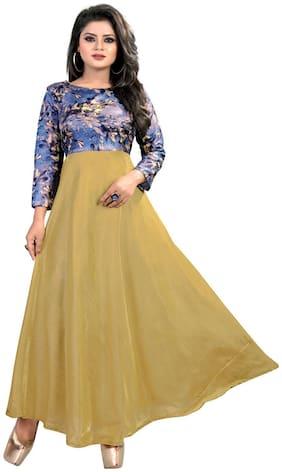 Gopal Fashion Yellow Satin Printed Gown