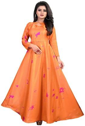 Gopal Fashion Orange Satin Printed Gown