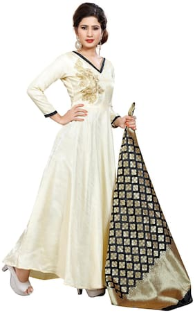 gopal fashion Yellow Satin Anarkali Semi-Stitched Suit