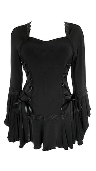 Gothic Style Sweetheart Neck Long Sleeve Pure Color Lace-Up Women\'s Blouse