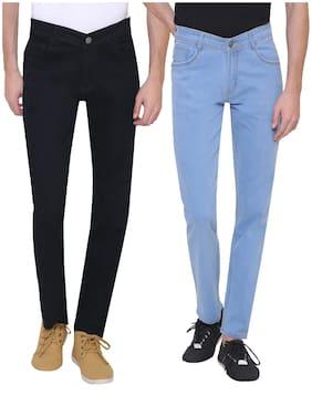 Men Regular Fit Mid Rise Jeans Pack Of 2