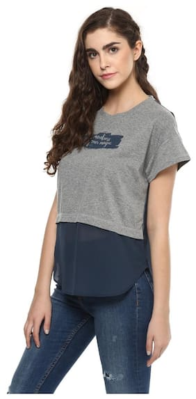 Grain Women's Grey Slogan Printed Top
