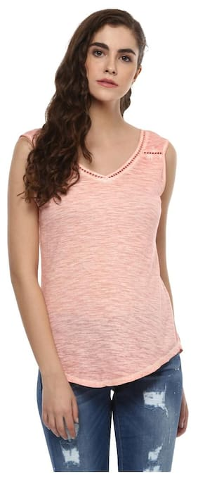 Grain Women's Solid Peach Lace Detail Tank Top