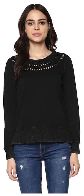 Grain Women's Black Braided Neck Mineral Washed Sweatshirt