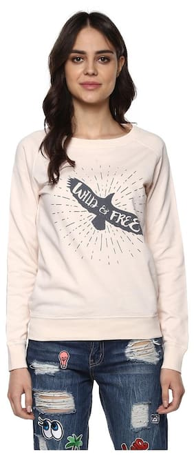 Grain Women's Powder Pink Slogan Printed Sweatshirt