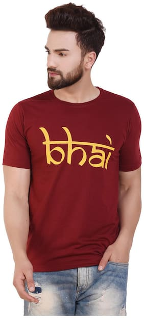 Grand Bear Maroon Printed Round Neck cotton t-shirt