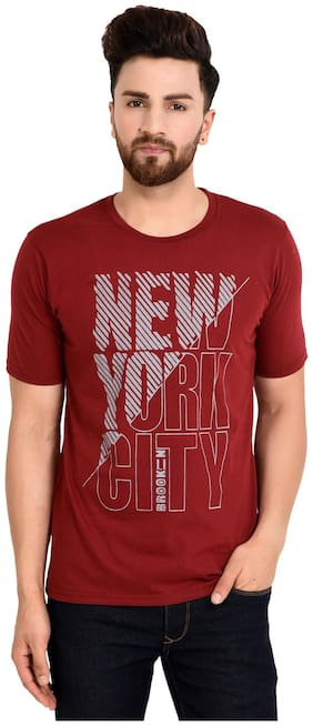 Grand Bear Men Regular fit Round neck Printed T-Shirt - Maroon