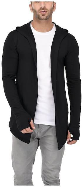 GRAND STITCH Men's Cotton Hooded Thumbhole Shrug ( Black ) - Pack of 1