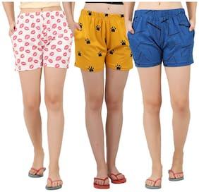 Women Cotton Regular Fit Shorts ,Pack Of 3