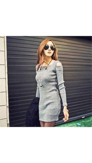 Knitwear Dress Long Grey Sleeve Neck M Women Crew Off Shoulder Sweater n1ZAfq