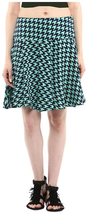 Green & Blue hounstooth Fit & Flare Skirt