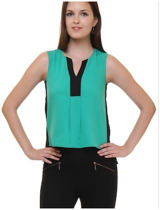 Ruhaan's Women Crepe Solid - Regular top Green
