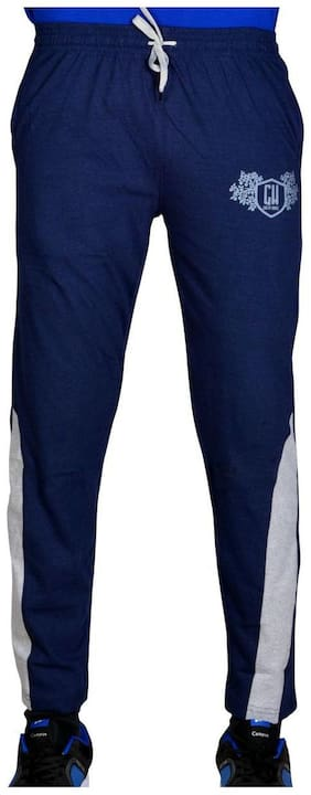Green House Men Cotton Track Pants - Navy Blue
