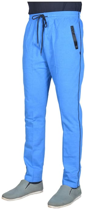 Green House Solid Blue Track Pants For Men