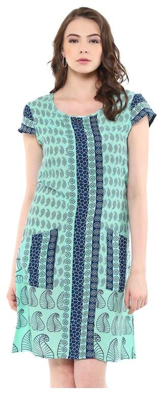 Green Paisley print border indo western dress