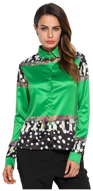 Betterlife Green Patchwork Turn-Down Collar Long Sleeve Soft Shirt-Green