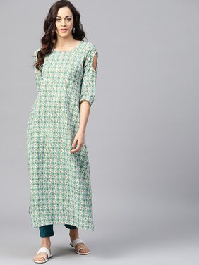 AASI- HOUSE OF NAYO Cotton Printed Maxi Dress Green