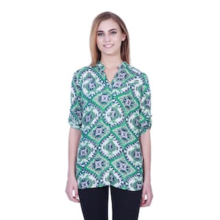 Green printed shirt tunic