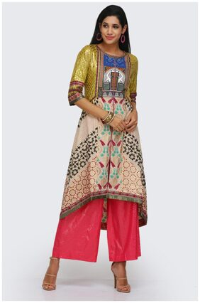 W Women Blended Solid Straight Kurta - Multi
