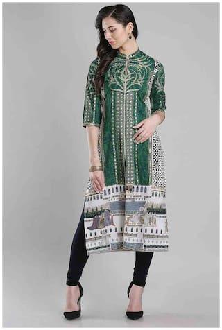 W Women Blended Solid Straight Kurta - Green
