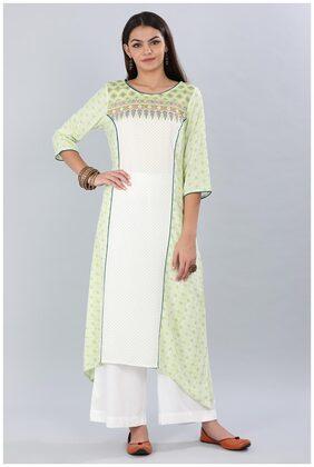 Aurelia Women Cotton Printed Straight Kurta - Green