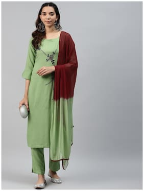 HIGHLIGHT FASHION EXPORT Women Green Solid Straight Kurta With Pants And Dupatta