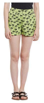 Green Tropical Print Shorts