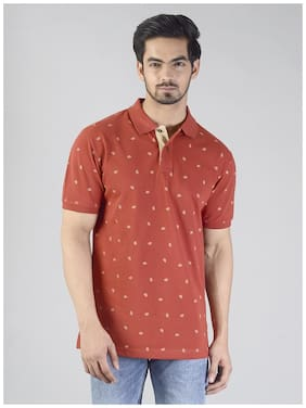 Greenfibre Cotton Blend Maroon Floral  Tshirt For Men
