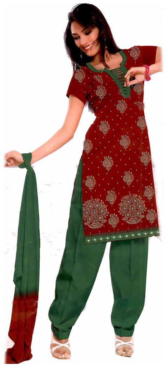 GreenViji Cotton Embroidered Salwar Suit Dupatta Material  Un stitched