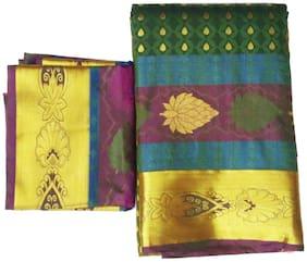 GREENVIJI Green Woven Kanchipuram Silk Regular Saree , With blouse