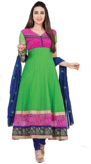 GreenViji Green Net Dress Material