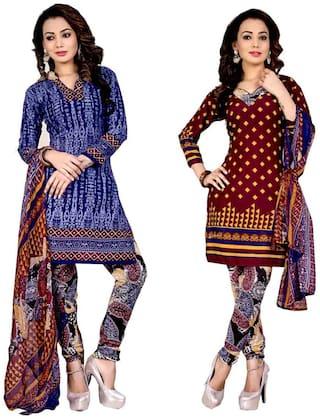 GreenViji Two Top Crepe Printed Salwar Suit Dupatta Material (Un-stitched)