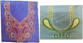 GreenViji Women Silk Cotton Unstiched Blouse with beautiful designs Free Size combo Set of 2