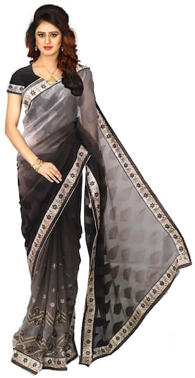 GreenViji Womens/Girls Grey Chiffon Embroidered Saree With UnStiched Blouse