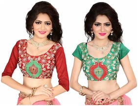GreenViji Women Silk Cotton Unstiched Blouse with beautiful designs Free Size combo Set of 2