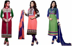 GreenViji Womens/Girls Multicolor Cotton Embroidered UnStiched Dress Material