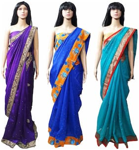 GreenViji Womens/Girls  Blue Cotton Lace Printed UnStiched Dress Material Combo Set of 3