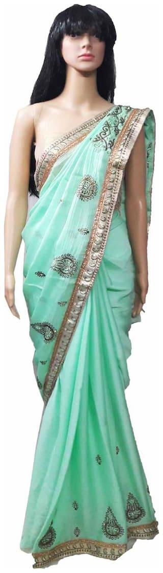 GreenViji Womens/Girls  Green Chiffon Lace Embroidered UnStiched Dress Material